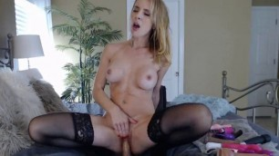 Blonde Hottie Pounding Both Her Holes Using Her Toys