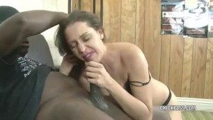 Skinny White Milf Sucks Big Black