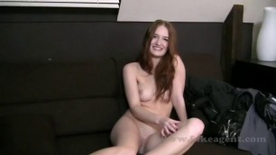 Perfect redhead enjoys giving a oral sex in a casting