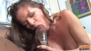 Busty milf is playing with her perky nipples white wife with black man