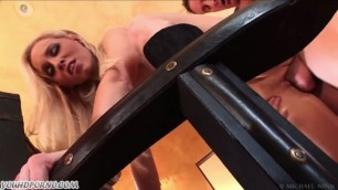 Hot blonde Deep Throat and Cumshot on her face