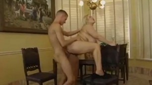 Stunning blonde pussy with huge boobs takes big dick